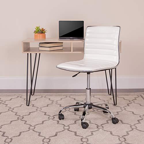 Flash Furniture Low Back Designer Armless White Ribbed