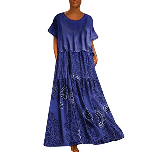 Sunhusing Womens Gradient Color Loose Casual Cotton Linen Round Neck Short-Sleeve Ethnic Style Print Maxi Dress Blue