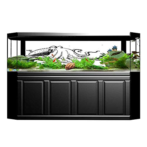 (Jiahong Pan Fish Tank Poster Aquarium Background Backdrop PVC Adhesive with Giant Tentacles Underwater Wildlife Sea Creature Black White Sticker Wallpaper Fish Tank L29.5 x H21.6)