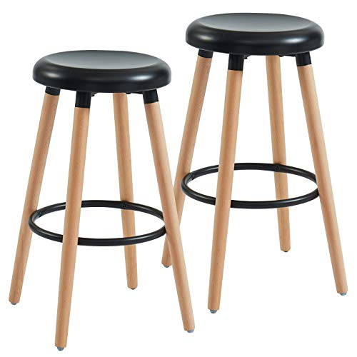 Cinzia Set of 2 Mid-Century Solid Wood & Metal 26'' Counter Stool in Natural