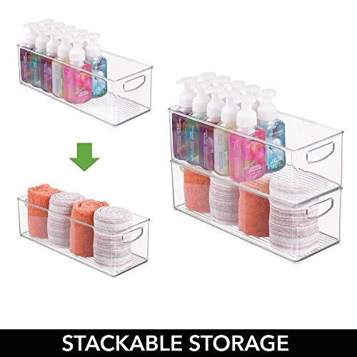mDesign Storage Bins with Built-in Handles for Organizing Hand Soaps, Body Wash, Shampoos, Lotion, Conditioners, Hand Towels, Hair Accessories, Body Spray, Mouthwash - 16'' Long, 4 Pack - Clear by mDesign (Image #3)