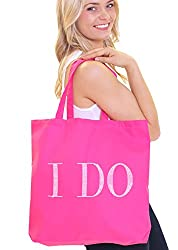 Hot Pink I Do Diamond Motif Rhinestone Totes