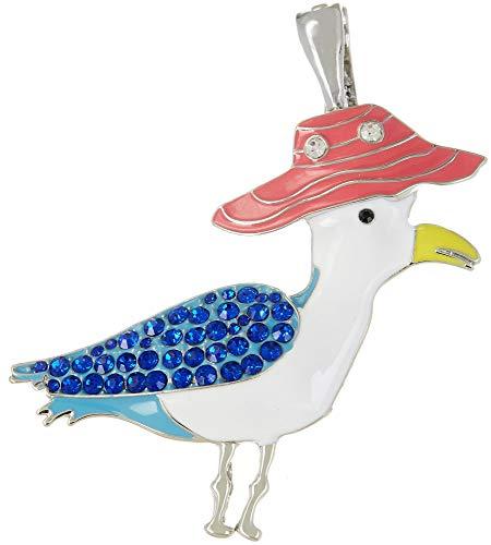 - Wearable Art by Roman Rhinestone & Enamel Seagull Pendant Silver Tone Multi
