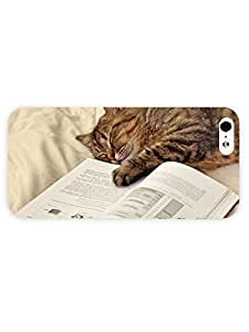 3d Full Wrap Case for iPhone 5/5s Animal Cat Sleeping On The Book