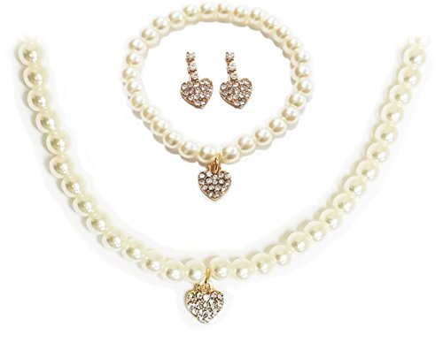 Pearl Acrylic Necklace (Boutique 9 Acrylic Pearl Jewelry Set for girl [Necklace, Bracelet, and Earrings] Heart)