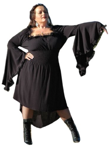 Lace Morticia Costume (Gothic Black Vampiress Morticia Dress Steampunk Renaissance Costume - Size 3X-Large)