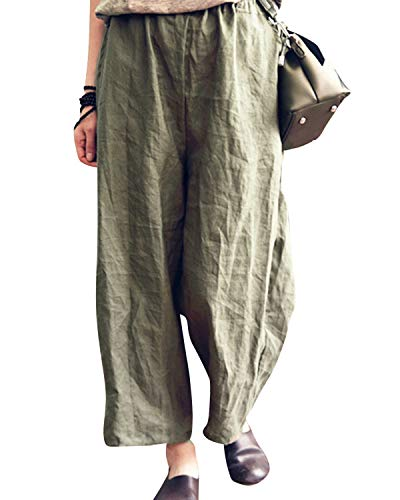 BBYES Women's Vintage Retro Plus Size Elastic Waist Wide Leg Linen Cropped Pants Green (Vintage Retro Pants)