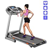 Benlet Sports F15 Digital Fodling Exercise Machine-Two Manual Incline- Electric Motorized Power Trac Treadmill w/Bluetooth Downloadable App for Home Running and Walking (Gray)