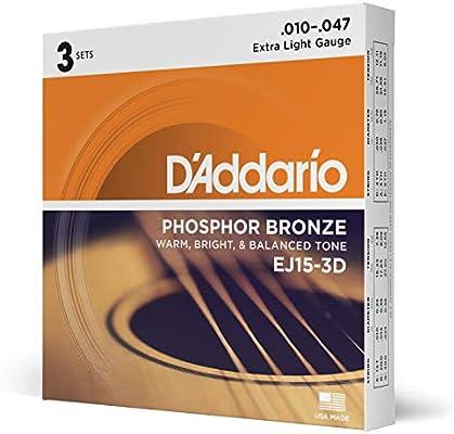DAddario EJ15-3D - Juego de cuerdas para guitarra acústica de ...