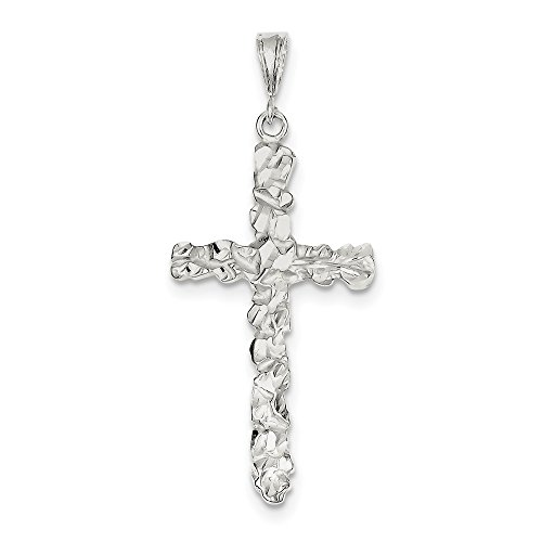 Diamond2Deal 925 Sterling Silver Diamond -Cut Cross Pendant from Diamond2Deal
