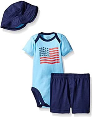 Baby Boys' 3 Piece Bodysuit, Hat, and Short Set
