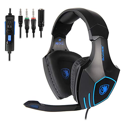 Gaming Headset With Microphone SADES SA819 3.5mm Gaming Headset for New Xbox One, PS4, PC,Smartphones,Computer, Laptop Noise Reduction Game Earph Headphone with Surround Sound Stereo (Blue)