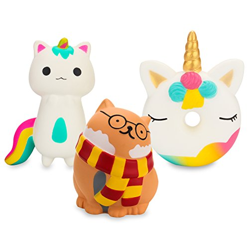 BeYumi Slow Rising Toy, Kawaii Unicorn Donut, Unicorn Fox, Glasses Cat Squishy Cream Scented Simulation Cute Animal Squeeze Toys for Collection Gift, Decorative props Large or Stress Relief by BeYumi