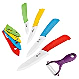 IEOVO 9 Piece Ceramic Knife Set – Multi Color Ceramic Cutlery Kitchen Knives with Peeler – White Blade For Sale