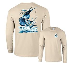 Two Sailfish Out of Water Deep Sea Fishing Long Sleeve T-Shirt