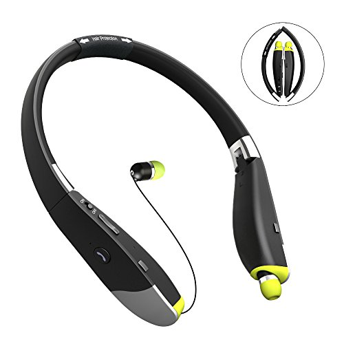 Bluetooth Headphones, FKANT V4.1 Foldable Neckband Wireless Headset with Retractable Earbuds, Up to 16 Hours Playtime Noise Cancelling Earphones Compatible for iPhone X/8/8 plus/7/6, Samsung S9/S9p