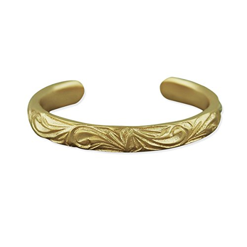 14kt Yellow Gold Plated Sterling Silver 2mm Hawaiian Band Toe Ring ()