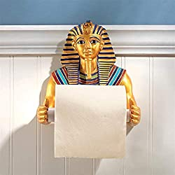 Design Toscano JQ9686 Holder - King Tutankhamen Egyptian Toilet Paper Roll - Bathroom Wall Decor, Multicolor