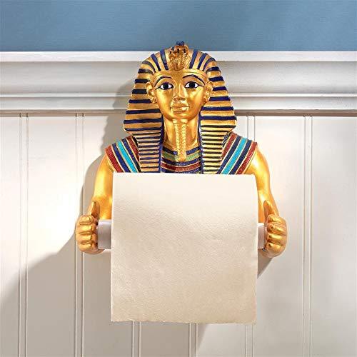 Design Toscano JQ9686 Toilet Paper Holder-King Tutankhamen Egyptian Bathroom Decor Roll Wall, Multicolor ()