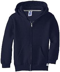 Russell Athletic Big Boys' Fleece Full Zip With Hood, Navy, Large