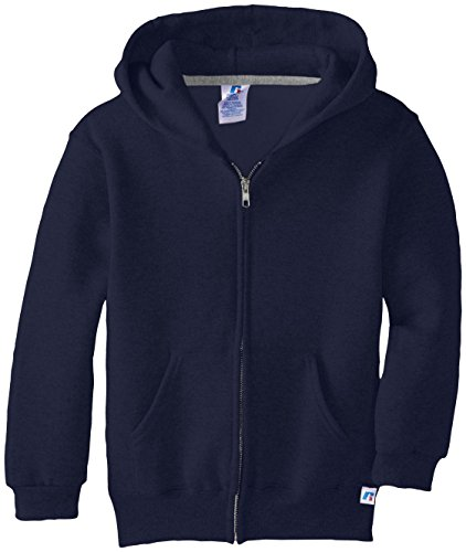 Russell Athletic Big Boys' Fleece Full Zip with Hood, Navy, (Fleece Full Zip Hood Sweatshirt)