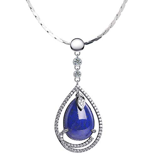 iSTONE 925 Sterling Silver Natural Lapis Lazuli Pendant Necklace Water Drop Shape with 18