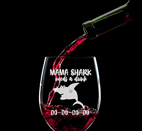 Toshiy Wine Glass Baby Mama Shark Novelty Wine Glasses for Women with Sayings Funny Shark Gifts for Mom Mother Friends Mother's Day Gift