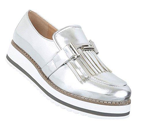 Damen Dandy Halbschuhe | Brogues Profilsohle | Cap Toes Schuhe Schnürer | Metallic Slipper | Plateauschuhe zweifarbig | Damenschuhe Lack | Wedges Plateau Schuhe | Schuhcity24 Modell Nr1 Silber