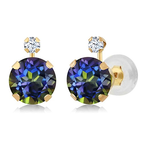 - 1.68 Ct Round Blue Mystic Topaz White Created Sapphire 14K Yellow Gold Earrings