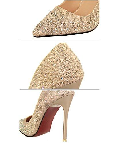 Con Shoes Tacco Stiletto Scarpe Tacco Pointed Scarpe Scarpe Lucide Strass Sposa Scarpe Da Toe Minetom Donna Oro Col Y1wZ66