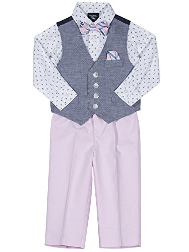 Nautica Boys' Baby 4-Piece Formal Dresswear Vest Set, Medium Pink Basketweave, 18 Months (Linen Suit For Toddlers)