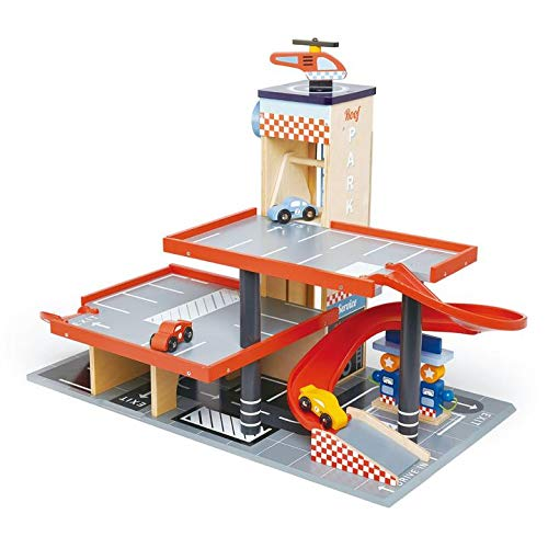(Tender Leaf Toys - Blue Bird Service Station - Classic Wooden Garage and Service Station for Cars and Helicopter with Ramps, Petrol Pumps and Car Wash Center - Imaginary and Roleplay for Children 3+)