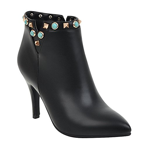 Charm Foot Womens Fashion Zipper Rivet Pointed Toe High Heel Ankle Boots Black