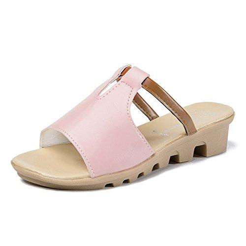 Sandalias Y Ocasionales Zapatillas Playa Coreana Moda Pendiente Antideslizantes 39 GUANG Pink De Con Pink Palabra XING Con Verano Señora Gruesa 39 La Planas Suela 6ZHqF4pw