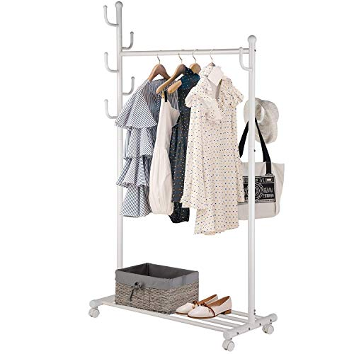 (SINGAYE Clothes Rack 2-in-1 Multifunctional Design with 7 Side Hooks Tree Stand Coat Hanger for Garment, Hats, Scarves and Umbrellas, Indoor and Outdoor Use, Gold)