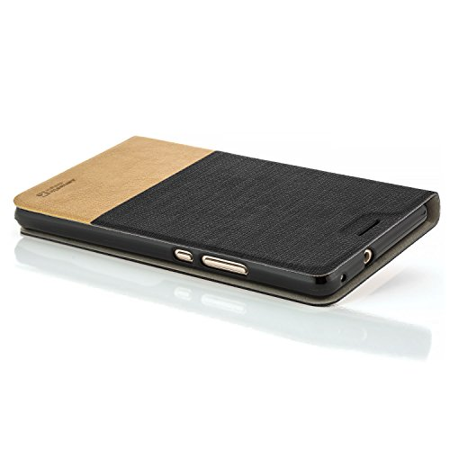Funda Huawei Mate 9 [MHA-L09] Case Cubierta Carcasa Flip Cover Tapa Delantera con Billetera para Tarjetas, Cierre Abatible - Protectora de Alta Calidad | Negro Negro