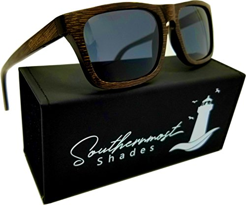 Real Bamboo Wood Sunglasses -100% Polarized Lenses- Wooden Frame for Men & Women (Brown Bamboo - Black - Bamboo Wayfarer