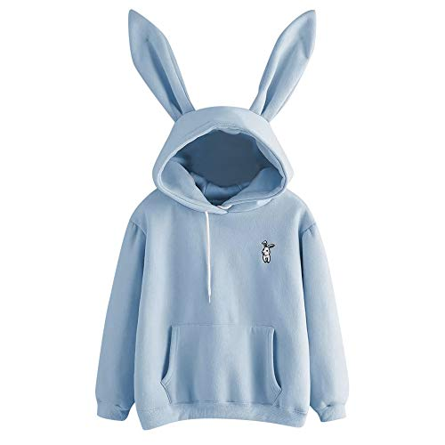 Sunhusing Ladies Cute Rabbit Ear Long Sleeve Hoodie Solid Color Embroidery Pullover Sweater -