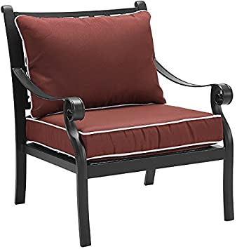 Crosley Furniture CO6106BK-SG Palermo Outdoor Aluminum Dining Chairs with Sangria Cushions Set of 2 , Black