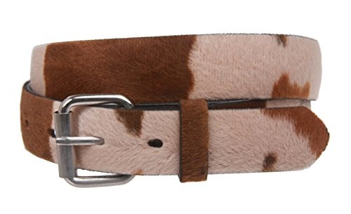 Snap On Cow Print Leather Belt Size: XS - 28 Color: Brown