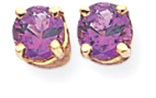 ICE CARATS 14k Yellow Gold 4mm Purple Amethyst Post Stud Ball Button Earrings Gemstone Fine Jewelry Gift Set For Women Heart by ICE CARATS