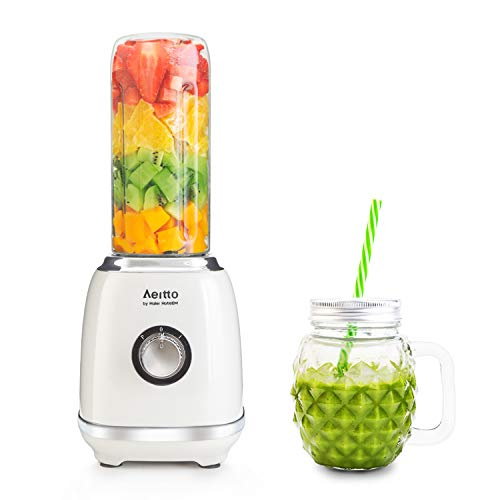 Blender for Shakes and Smoothies, Personal Blender Single Serve Smoothie Shake Blender with 1 Portable Travel Bottle, 1 Old Fashion Mason Glass Jar, 2 Adjustable Speed for Fruit Juice