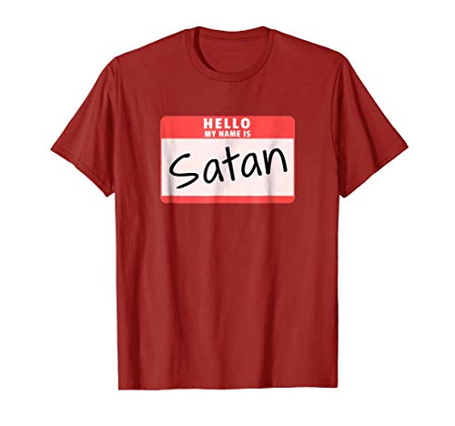 Mens Hello My Name is Satan Funny Halloween Devil Costume T-Shirt XL Cranberry