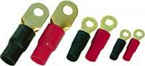 Xscorpion RT4B RING TERMINAL 4GA. 10PCS. GOLD;BLACK SLEEVE;XSCORPION Crimpable Ring Terminals