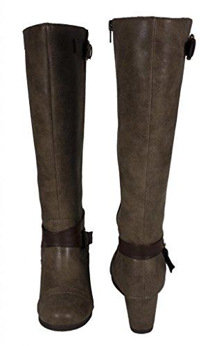 Lustacious Kvinna Knä Höga Ridstövlar Med Bälte Spännen Taupe Läder