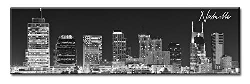 DJSYLIFE- Panoramic Nashville Skyline Wall Art,Canvas Wall Art,Black and White Wall Decoration Painting for Bedroom or Office Decor, Ready to Hang -