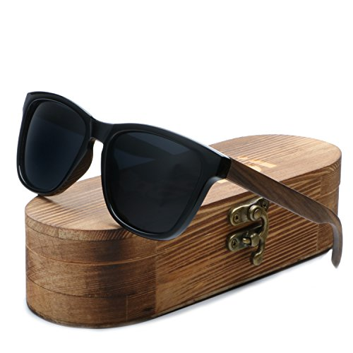 ABLIBI Women Bamboo Wooden Polarized Sunglasses for Men Shades in Wood Case (Ebony, ()