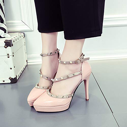 Pink Scarpe alti Scarpe A Da Single Punta Heel Super Platform Donna Shoes Tacchi Stiletto High Rivet Yukun Slim 8TWSqw16B