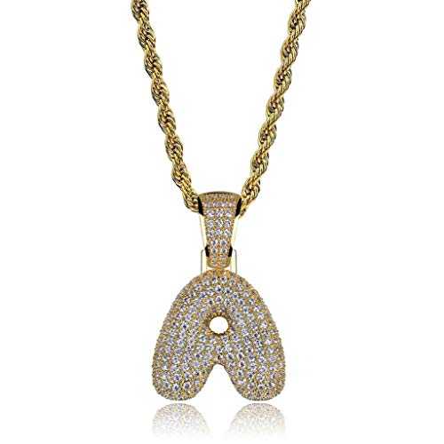 POSHFEEL Iced Out Lab Premium Simulated Diamond Bling Bubble Letters Pendant Necklace Chain Men Hip Hop Fashion (Single Letter-Gold A, 50)