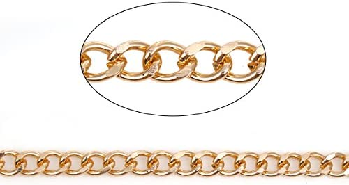 Aluminum Curb Chain in Bulk Wholesale 10x5.5mm Gold Tone 5 Meters Over 15 Feet